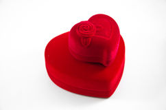 Red Velvet Silk rose Box for Engagement Royalty Free Stock Photo