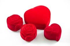 Red Velvet Silk rose Box for Engagement Stock Photography