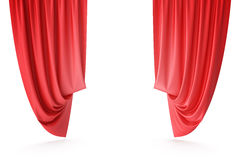 Red velvet stage curtains, scarlet theatre drapery. Silk classical curtains, red theater curtain. 3d rendering. Red velvet stage curtains, scarlet theatre Stock Photos