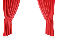 Red velvet stage curtains, scarlet theatre drapery. Silk classical curtains, red theater curtain. 3d rendering Stock Photo