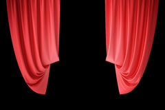 Red velvet stage curtains, scarlet theatre drapery. Silk classical curtains, red theater curtain. 3d rendering Royalty Free Stock Photography