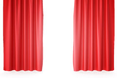 Red velvet stage curtains, scarlet theatre drapery. Silk classical curtains, red theater curtain. 3d rendering Royalty Free Stock Photo