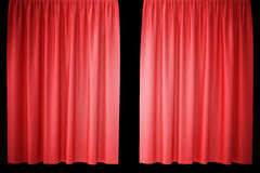 Red velvet stage curtains, scarlet theatre drapery. Silk classical curtains, red theater curtain. 3d rendering Royalty Free Stock Image