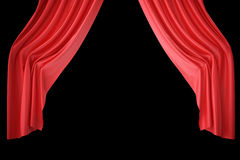 Red velvet stage curtains, scarlet theatre drapery. Silk classical curtains, red theater curtain. 3d rendering. Red velvet stage curtains, scarlet theatre Stock Image
