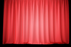Red velvet stage curtains, scarlet theatre drapery. Silk classical curtains, red theater curtain. 3d rendering Stock Photos