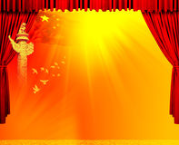 Red velvet theater courtains. With red Chinese flag, pigeon and so on.Illustrations made by photoshop,and save the file in a PSD Royalty Free Stock Photos