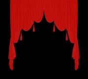 Red velvet theater curtain. S over black background Stock Photo