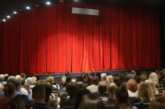 Red velvet theater curtain Royalty Free Stock Photo