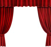 Red Velvet Theater curtains. Over white background Stock Image