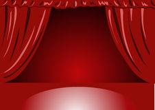Red Velvet Theater curtains. On empty stage. Vector illustration Royalty Free Stock Photo