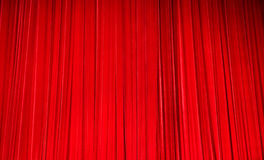 Red velvet theatre curtains. Plush red velvet theatre curtains Royalty Free Stock Photography