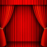 Red Velvet Vector Theater. Illustration of a Theater stage with Red Velvet Curtains Stock Photos