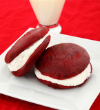 Red Velvet Whoopie Pies On Plate stock image