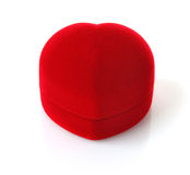 Red velvety box in appearance heart. On white background Royalty Free Stock Photos