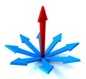 Red Vertical Arrow Shows Path Chosen Royalty Free Stock Photo