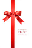 Red vertical gift bow isolated on white Royalty Free Stock Photos