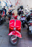Red vespa moto in Bangkok, Thailand Stock Image