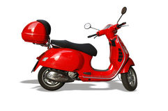 Red Vespa Scooter Stock Photo