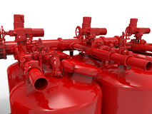 Red Vessels interconnections. 3D rendered illustration of multiple red vessels interconnected. The composition is focused on a pressure vessel Royalty Free Stock Images