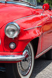 Red veteran car. Front view of the red veteran car Royalty Free Stock Photo