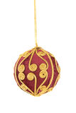 Red vevet ball with gold decorations. Christmas ornament on a white background Stock Photography