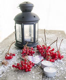 Red viburnum berries and snow on a wooden background. Viburnum twigs on a wooden table Stock Photography