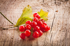 Red viburnum berries on wooden table Royalty Free Stock Images