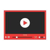 Red video player interface  on white background. Concept of streaming television, communication, tv clip, motion filmstrip. flat style trendy modern design Stock Photos