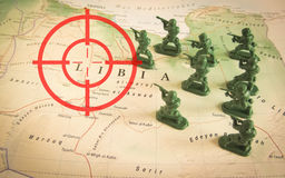 Red viewfinder over rebels on Libya territory: focus on Libya conflict. Red viewfinder  over rebels on Libya territory: focus on Libya conflict Royalty Free Stock Image