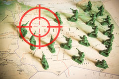 Red viewfinder over rebels on Libya territory: focus on Libya conflict. Red viewfinder  over rebels on Libya territory: focus on Libya conflict Royalty Free Stock Photography