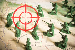 Red viewfinder over rebels on Libya territory: focus on Libya conflict. Red viewfinder  over rebels on Libya territory: focus on Libya conflict Royalty Free Stock Images