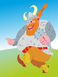 Red Viking. Red cheery viking running with the mace Stock Photography
