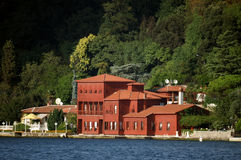Red villa. On the seashore, Istanbul, Turkey royalty free stock photography