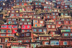 Red village and monastery at Larung gar Buddhist Academy in Sichuan. China Royalty Free Stock Image