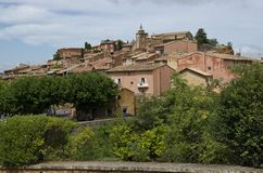 Red Village, Sandstone area in Rousillon, South Fr Royalty Free Stock Image
