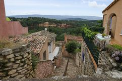 Red Village, Sandstone area in Rousillon, South France, Europe Royalty Free Stock Photos