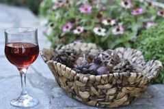 Red vine and a basket of dried fruit Stock Photos