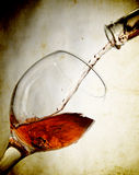 Red Vine In Glass On Vintage Background Stock Photography