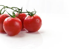 Red Vine Tomatoes. Freshly washed red cherry vine tomatoes on white background Stock Image