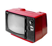 Red vintage analog television isolated with clipping path. Royalty Free Stock Images