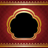 Red vintage vector background with golden frame Royalty Free Stock Image
