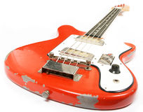 Red vintage bass guitar Stock Images