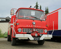 Red Vintage Bedford Tank Truck in a Show stock image