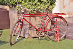 Red vintage bicycle Stock Images