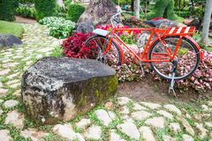 Red vintage bicycle in the park with decorative ornamental garden. Summer Outdoor Family Activities, Exercise in nature, Refresh. Ing, Relaxation in public park stock image