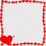 Red vintage border made of hearts with arrow pierced heart silhouette isolated. Vector red retro vintage border photo frame made of hearts with arrow pierced stock illustration