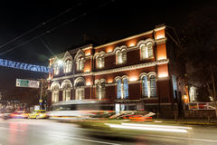 Red vintage building in Sofia,Bulgaria,illuminated at night royalty free stock photography
