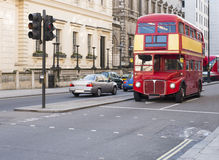 Red vintage bus in London. Royalty Free Stock Images