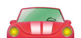 Red vintage cabriolet. Front view of retro car Stock Images