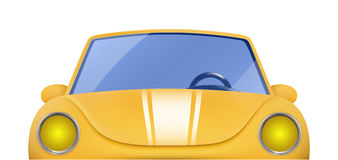 Red vintage cabriolet. Front view of retro car. Red vintage cabriolet. Front view of yellow retro car Stock Image